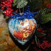 """Подарки к праздникам ручной работы. Ярмарка Мастеров - ручная работа Елочная игрушка """" Дед Мороз к нам мчится!"""". Handmade."""