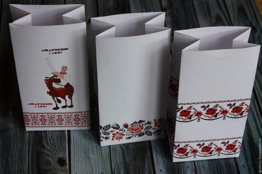 Упаковка ручной работы. Ярмарка Мастеров - ручная работа. Купить Упаковочный пакетик в народном стиле. Handmade. Белый, упаковка для украшений
