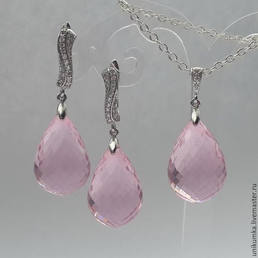 """Серьги ручной работы. Ярмарка Мастеров - ручная работа. Купить """"PinkDrops"""" - комплект с топазами. Handmade. Бледно-розовый, серьги с топазами"""