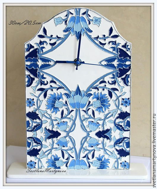 """Часы для дома ручной работы. Ярмарка Мастеров - ручная работа. Купить Часы-стойка """"Гжель"""". Handmade. Эксклюзивный подарок"""