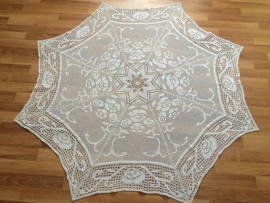 """Текстиль, ковры ручной работы. Ярмарка Мастеров - ручная работа. Купить Скатерть """"Белые розы """". Handmade. Хлопок 100%"""