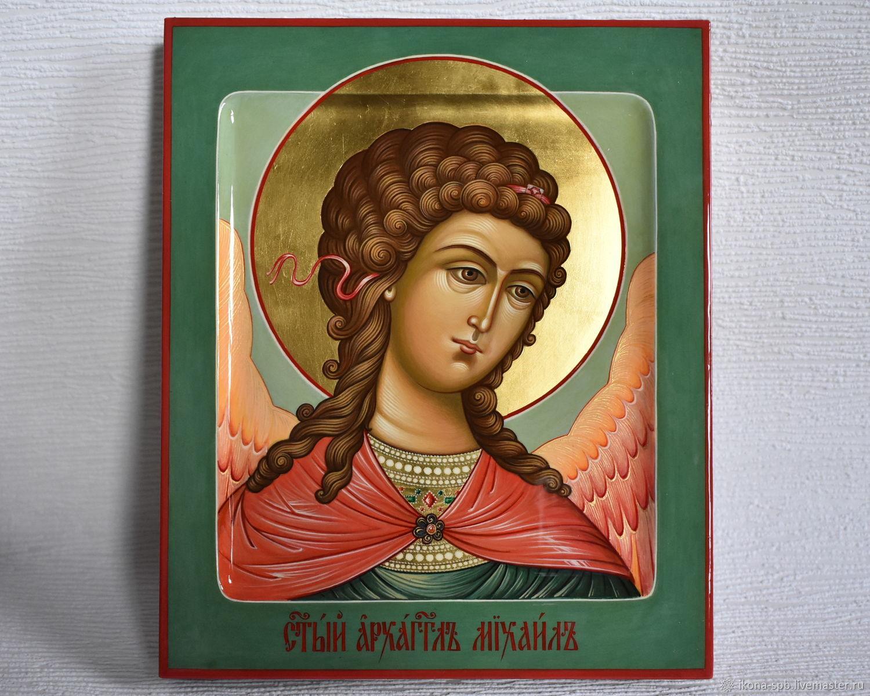 АРХАНГЕЛ МИХАИЛ рукописная икона . святой архистратиг  главный ангел, Иконы, Южа,  Фото №1