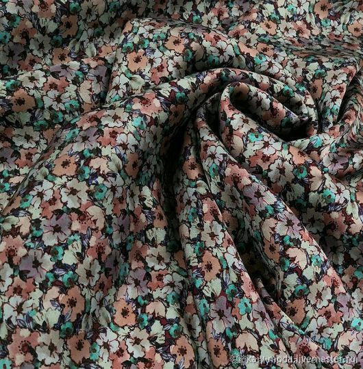 Natural silk with floral print Blumarin, Fabric, Moscow,  Фото №1