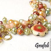 Украшения handmade. Livemaster - original item Bracelet with cloisonne flowers. Handmade.