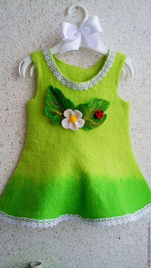 """Одежда для девочек, ручной работы. Ярмарка Мастеров - ручная работа. Купить Сарафанчик из шерсти """"Цветы"""". Handmade. Ярко-зелёный, яркий"""