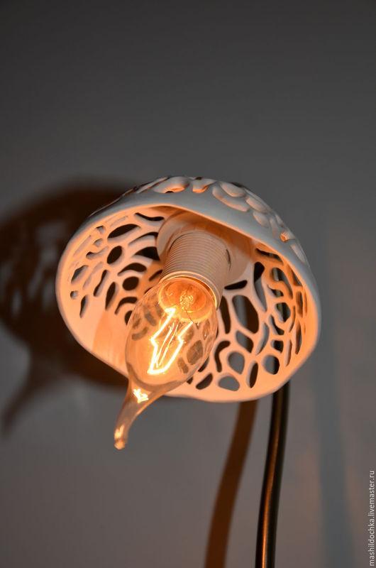 Освещение ручной работы. Ярмарка Мастеров - ручная работа. Купить Настольная лампа. фарфор. Handmade. Бежевый, для спальни, светло-бежевый