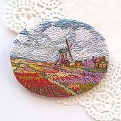 Украшения handmade. Livemaster - original item Embroidered brooch-pendant based on the painting By Monet