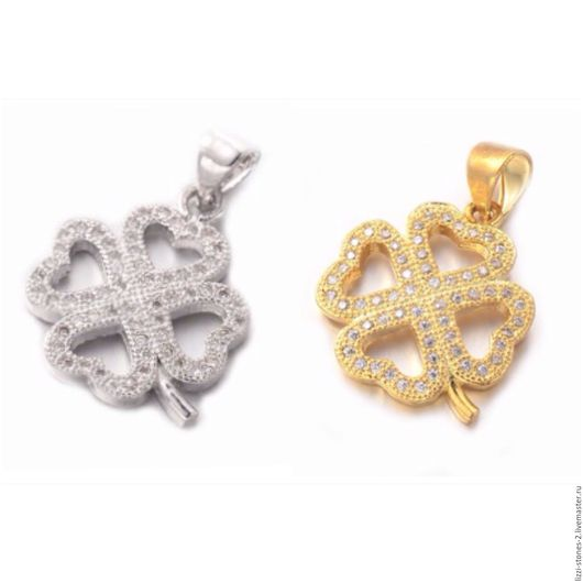 Подвеска Клевер серебро и золото (Milano) Евгения (Lizzi-stones-2)