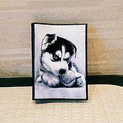 "Канцелярские товары ручной работы. Ярмарка Мастеров - ручная работа Обложка на паспорт ""Хаски"". Handmade."