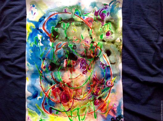 Абстракция ручной работы. Ярмарка Мастеров - ручная работа. Купить Буйство красок.. Handmade. Голубой, картина для дома, купить картину