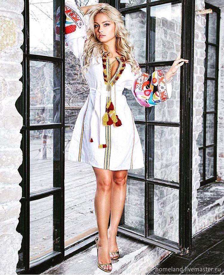 embroidered dress ukrainian vyshyvanka in boho style wonderland shop online on livemaster with. Black Bedroom Furniture Sets. Home Design Ideas