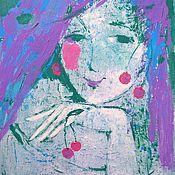 """Картины и панно ручной работы. Ярмарка Мастеров - ручная работа """"Вишенки-сережки"""" романтичная картина. Авторская живопись акрилом.. Handmade."""