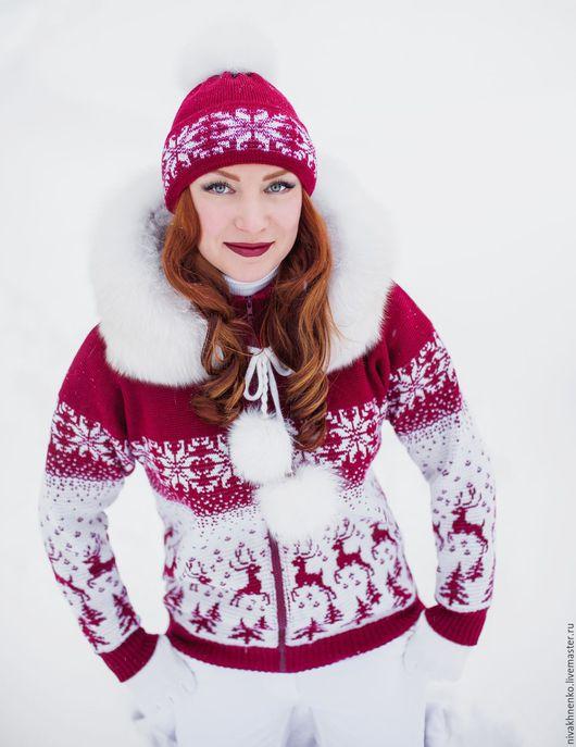 Кофты и свитера ручной работы. Ярмарка Мастеров - ручная работа. Купить Вязаная куртка Лесной олень, на молнии, с капюшоном. Handmade.