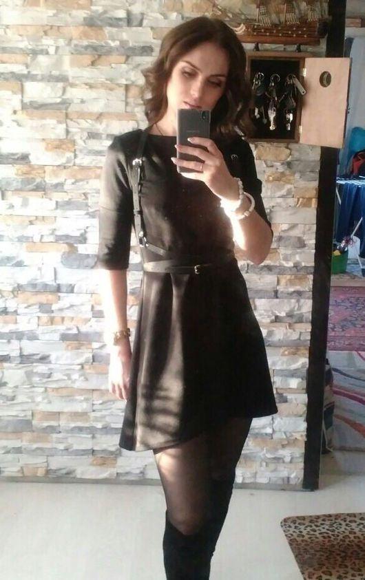 Платья ручной работы. Ярмарка Мастеров - ручная работа. Купить Трикотажное платье с большой кокеткой. Handmade. Маленькое черное платье, джерси