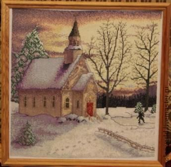 Пейзаж ручной работы. Ярмарка Мастеров - ручная работа. Купить вышивка крестом Зимний пейзаж. Handmade. Зимний пейзаж