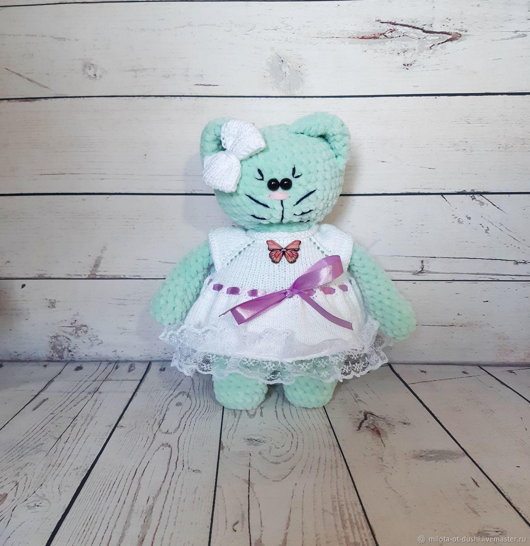 Вязаная кошка из плюшевой пряжи, Мягкие игрушки, Жуковский,  Фото №1