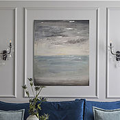 Interior elements handmade. Livemaster - original item To purchase bulk oil painting on canvas the sea in grey tones with gold leaf. Handmade.