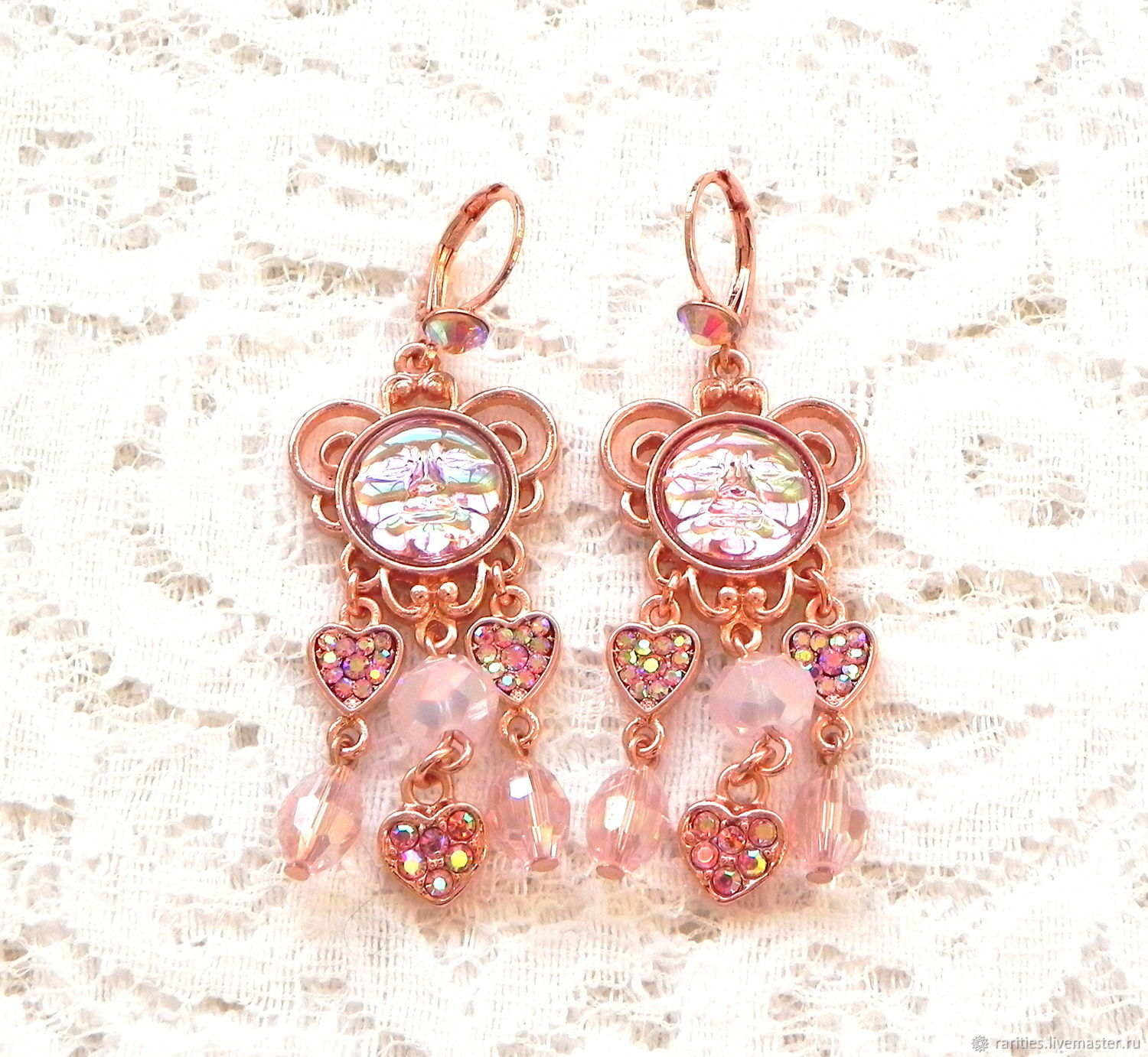 Earrings A lot of love, Kirks Folly, USA, pink, heart, favorite as a gift, Vintage earrings, Moscow,  Фото №1