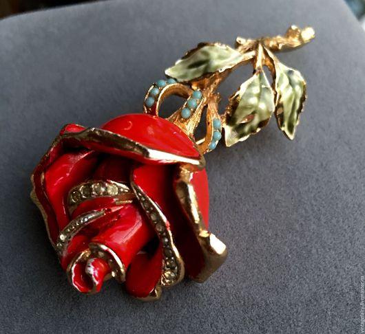 Винтажные украшения. Ярмарка Мастеров - ручная работа. Купить Винтажная брошь Coro, Красная роза. Handmade. Винтаж, брошь сша