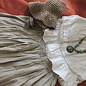 Одежда ручной работы. Ярмарка Мастеров - ручная работа Бохо юбка лён натуральный №1.. Handmade.