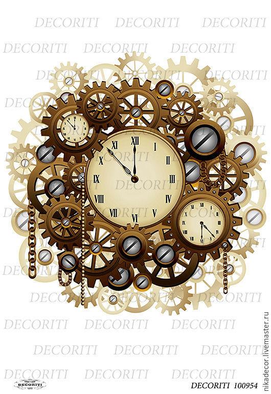 Декупаж и роспись ручной работы. Ярмарка Мастеров - ручная работа. Купить Стимпанк - часы (D100954) - рисовая бумага, А4. Handmade.