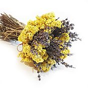 Цветы и флористика handmade. Livemaster - original item Bouquet of Lavender and immortelle 25h20 cm. Handmade.