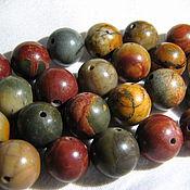 Материалы для творчества handmade. Livemaster - original item Picasso Jasper 10mm smooth bead. Handmade.