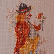 """Картины и панно ручной работы. Ярмарка Мастеров - ручная работа Вышивка крестом """"Рыжий клоун"""". Handmade."""