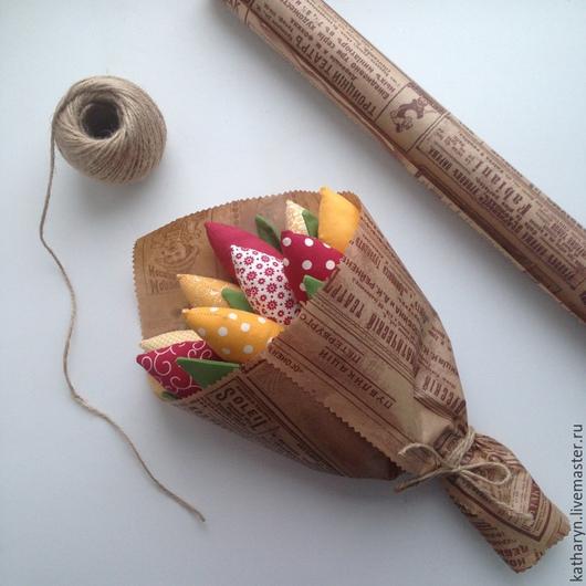 Цветы ручной работы. Ярмарка Мастеров - ручная работа. Купить Тюльпаны из ткани. Handmade. Разноцветный, тюльпаны из ткани, хлопок, подарок