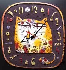 Часы для дома ручной работы. Ярмарка Мастеров - ручная работа. Купить Cat Time. Handmade. Часы интерьерные, Керамика