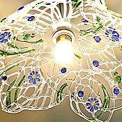 """Для дома и интерьера ручной работы. Ярмарка Мастеров - ручная работа Фьюзинг светильник """"Летняя паутинка"""" ажурное стекло, фьюзинг. Handmade."""
