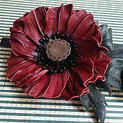 Украшения handmade. Livemaster - original item Brooch Burgundy poppy leather. Handmade.