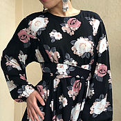 Одежда handmade. Livemaster - original item Dress long elegant of crushed cotton-Coffee roses. Handmade.