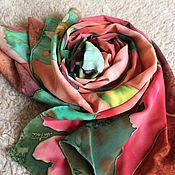 """Аксессуары ручной работы. Ярмарка Мастеров - ручная работа шарф-палантин """"Гибискус"""" батик. Handmade."""