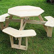 Для дома и интерьера ручной работы. Ярмарка Мастеров - ручная работа Восьмиугольный садовый стол со скамейками. Handmade.