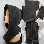 Аксессуары handmade. Livemaster - original item Hood men`s gloves, hood, scarf and gloves dark grey. Handmade.