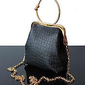 Сумки и аксессуары handmade. Livemaster - original item Black leather handbag with round handle, leather clutch. Handmade.