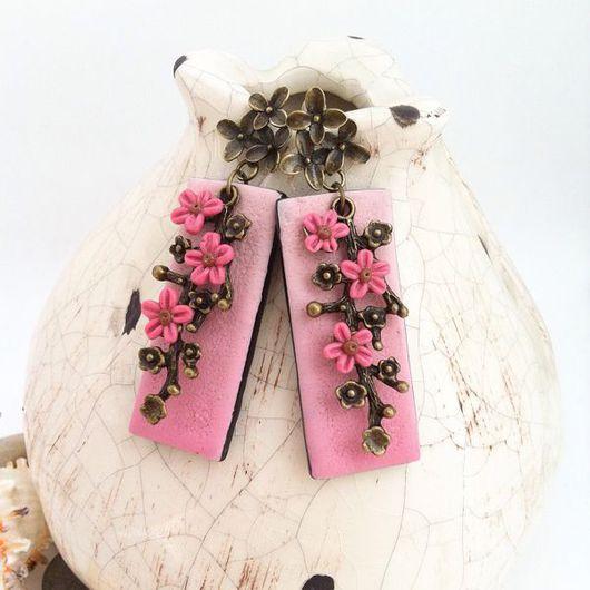Серьги ручной работы. Ярмарка Мастеров - ручная работа. Купить Розовые серьги с цветами из полимерной глины РАННЕЕ УТРО. Handmade.