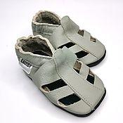 Одежда детская handmade. Livemaster - original item Gray baby sandals , Leather baby shoes , Ebooba,Toddler Sandals. Handmade.