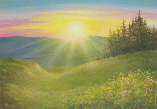 Пейзаж ручной работы. Ярмарка Мастеров - ручная работа. Купить Пейзаж Лучи (находится в Москве). Handmade. Пейзаж, солнце, горы