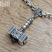 Pendants handmade. Livemaster - original item Talisman Hammer of Svarog and Star of Russia. Silver 925 art.1010701. Handmade.