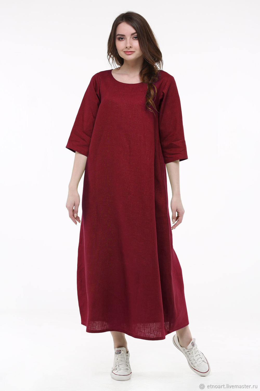 Cherry linen dress, Dresses, Tomsk,  Фото №1