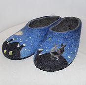 """Обувь ручной работы. Ярмарка Мастеров - ручная работа Тапочки валяные """"Коты зимние"""". Handmade."""
