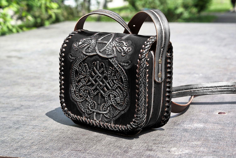 Leather bag 'Celtic coat of arms' - Black Anthracite, Classic Bag, Krasnodar,  Фото №1