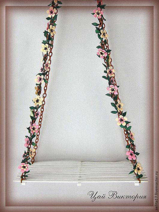 Кукольный дом ручной работы. Ярмарка Мастеров - ручная работа. Купить Цветочные качели.. Handmade. Розовый, бумажные цветы, дерево