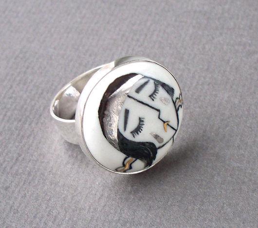 """Кольца ручной работы. Ярмарка Мастеров - ручная работа. Купить Колечко """"Пьеро"""". Handmade. Фарфор, серебро 925 пробы, позолота"""