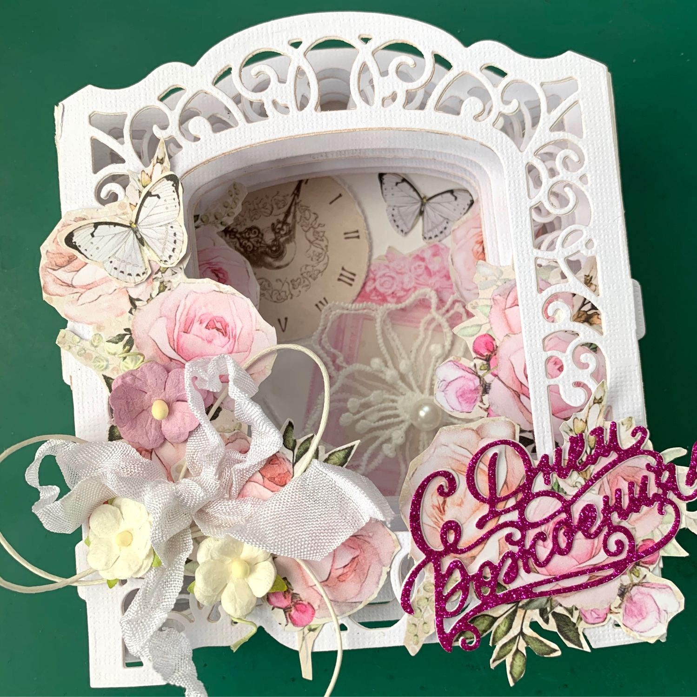 Нежно-розовая открытка в коробочке, Открытки, Москва,  Фото №1