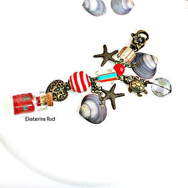 """Аксессуары ручной работы. Ярмарка Мастеров - ручная работа Брелок в морском стиле с  камнями и ракушками """"Сокровища пирата"""". Handmade."""