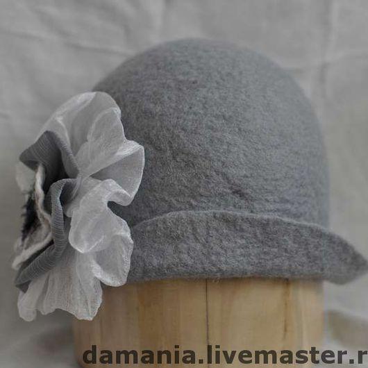 Шапки ручной работы. Ярмарка Мастеров - ручная работа. Купить Валяная шапка-шляпка Несерая повседневность. Handmade. Шапка, шерсть