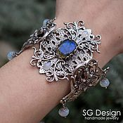 "Украшения handmade. Livemaster - original item Silver plated Bracelet ""Jozefina"" Labradorite, Moonstone. Handmade."